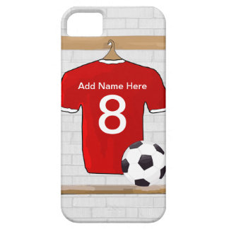 Personalized Red and White Football Soccer Jersey Barely There iPhone 5 Case