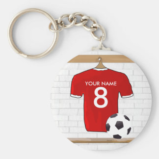Personalized Red and White Football Soccer Jersey Basic Round Button Key Ring