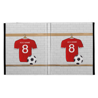 Personalized Red and White Football Soccer Jersey iPad Cases