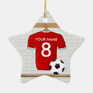 Personalized Red and White Football Soccer Jersey Ceramic Star Decoration