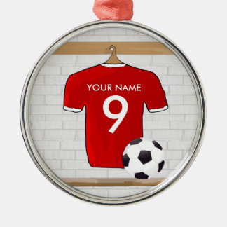 Personalized Red and White Football Soccer Jersey Christmas Ornament