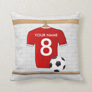 Personalized Red and White Football Soccer Jersey Cushion