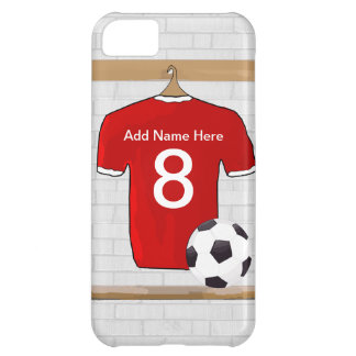 Personalized Red and White Football Soccer Jersey iPhone 5C Case