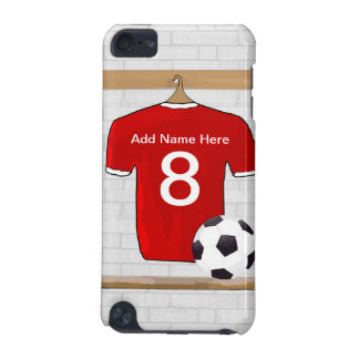 Personalized Red and White Football Soccer Jersey iPod Touch 5G Covers