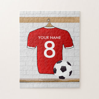 Personalized Red and White Football Soccer Jersey Jigsaw Puzzle