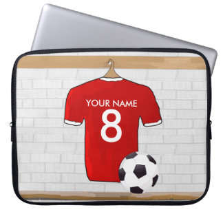 Personalized Red and White Football Soccer Jersey Laptop Sleeve