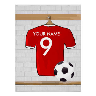 Personalized Red and White Football Soccer Jersey Poster