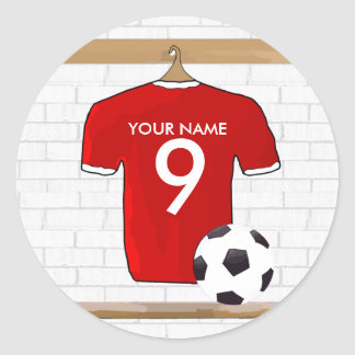 Personalized Red and White Football Soccer Jersey Round Sticker