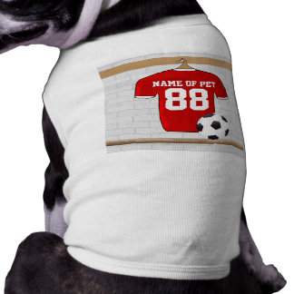 Personalized Red and White Football Soccer Jersey Sleeveless Dog Shirt