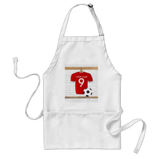 Personalized Red and White Football Soccer Jersey Standard Apron