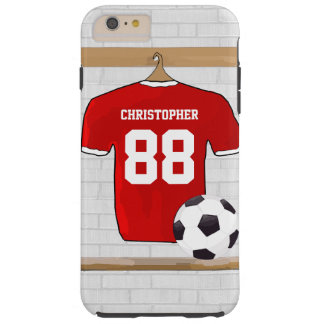 Personalized Red and White Football Soccer Jersey Tough iPhone 6 Plus Case