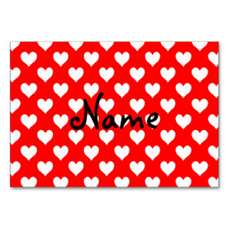Personalized Red and White Heart Pattern Card