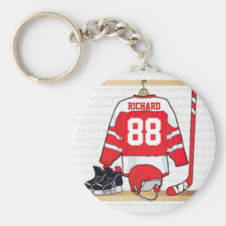 Personalized Red and White Ice Hockey Jersey Basic Round Button Key Ring