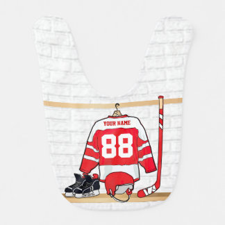 Personalized Red and White Ice Hockey Jersey Bib