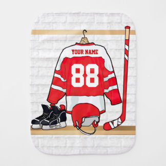 Personalized Red and White Ice Hockey Jersey Burp Cloth