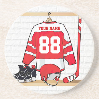 Personalized Red and White Ice Hockey Jersey Coaster
