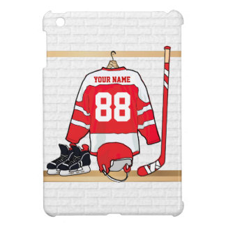 Personalized Red and White Ice Hockey Jersey Cover For The iPad Mini