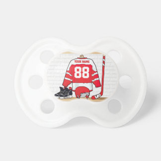 Personalized Red and White Ice Hockey Jersey Dummy