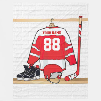 Personalized Red and White Ice Hockey Jersey Fleece Blanket