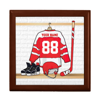 Personalized Red and White Ice Hockey Jersey Gift Box