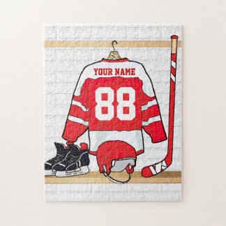 Personalized Red and White Ice Hockey Jersey Jigsaw Puzzle