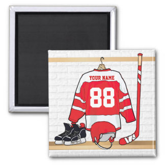 Personalized Red and White Ice Hockey Jersey Magnet