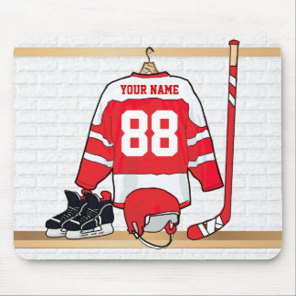 Personalized Red and White Ice Hockey Jersey Mouse Mat