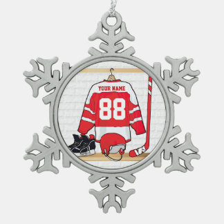 Personalized Red and White Ice Hockey Jersey Pewter Snowflake Decoration