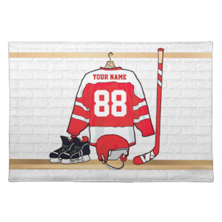 Personalized Red and White Ice Hockey Jersey Placemat