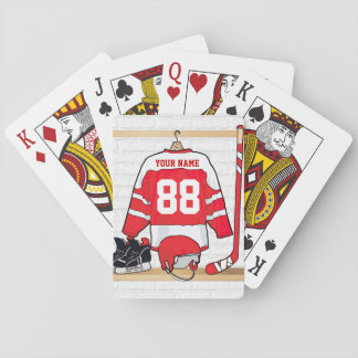 Personalized Red and White Ice Hockey Jersey Playing Cards