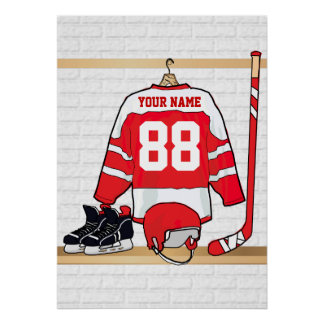 Personalized Red and White Ice Hockey Jersey Poster