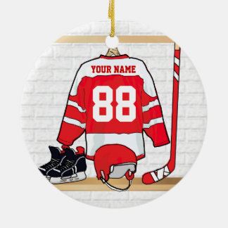 Personalized Red and White Ice Hockey Jersey Round Ceramic Decoration