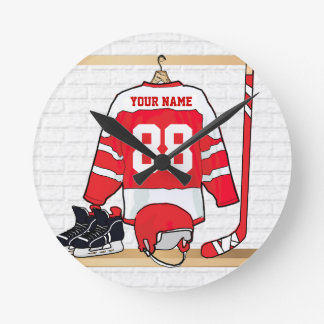 Personalized Red and White Ice Hockey Jersey Round Clock