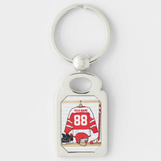 Personalized Red and White Ice Hockey Jersey Silver-Colored Rectangle Key Ring