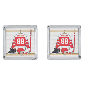 Personalized Red and White Ice Hockey Jersey Silver Finish Cufflinks