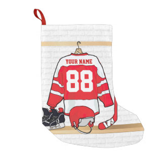 Personalized Red and White Ice Hockey Jersey Small Christmas Stocking