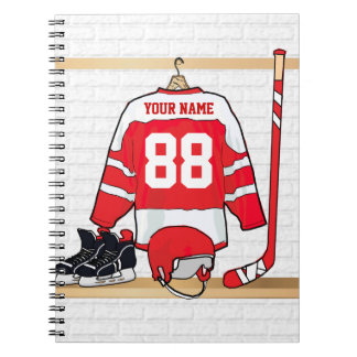 Personalized Red and White Ice Hockey Jersey Spiral Note Book