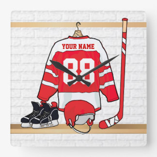 Personalized Red and White Ice Hockey Jersey Square Wall Clock