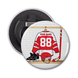 Personalized Red and White Ice Hockey Jersey Button Bottle Opener