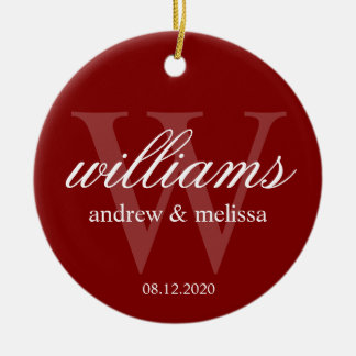 Personalized Red and White Monogram Christmas Ornament