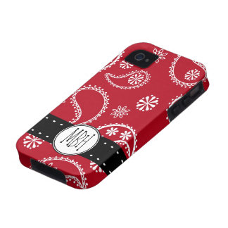 Personalized Red and White Paisley Pattern Country Vibe iPhone 4 Cases