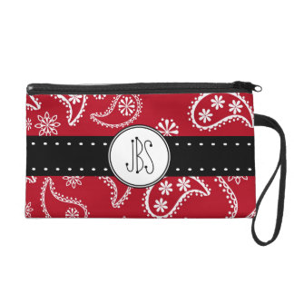 Personalized Red and White Paisley Pattern Country Wristlet
