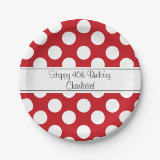 Personalized Red and White Polka Dot Paper Plates