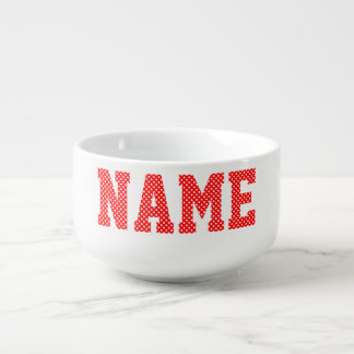 Personalized Red and White Polka Dot Soup Bowl With Handle