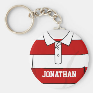 Personalized Red and White Rugby Jersey Key Ring