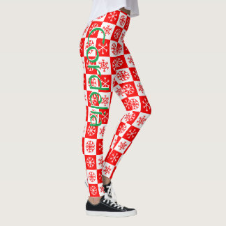 Personalized Red and White Snowflake Check Pattern Leggings