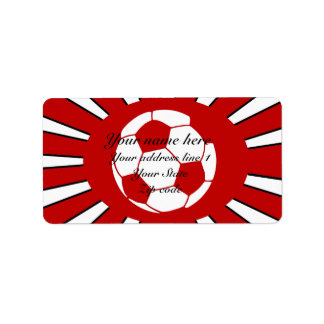 Personalized red and white soccer design label