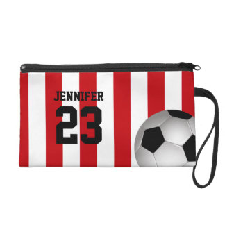 Personalized Red and White Stripes Soccer Ball Wristlet Clutches
