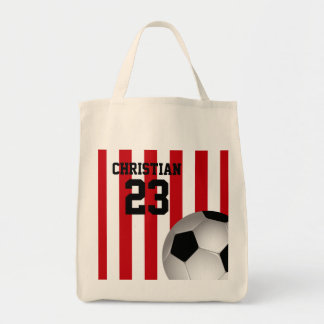 Personalized Red and White Stripes Soccer Ball Tote Bag