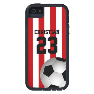 Personalized Red and White Stripes Soccer Ball Tough Xtreme iPhone 5 Case